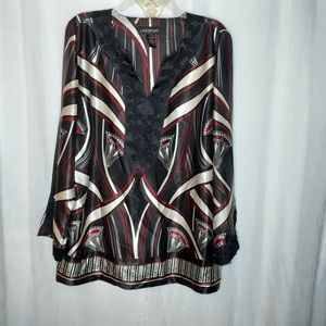 Lane Bryant Black, Red, Off-White Embellished Top